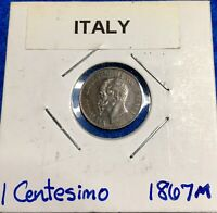 1867 M ITALY 1 CENTESIMO   NICE ALL ORIGINAL COIN