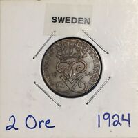 1924 SWEDEN 2 ORE   NICE ALL ORIGINAL CHOICE UNC COIN