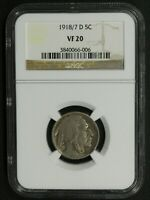 Click now to see the BUY IT NOW Price! 1918/7 D BUFFALO NICKEL NGC VF 20