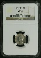 Click now to see the BUY IT NOW Price! 1916 D MERCURY SILVER DIME NGC VF 35