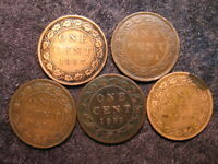 5 OLD WORLD COIN LOT CANADA 1 ONE LARGE CENT KM7 1890   1897