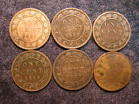 6 OLD WORLD COIN LOT CANADA 1 ONE LARGE CENT KM7 1881   1888