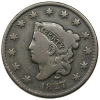 1827 CORONET HEAD LARGE CENT, N-2, R.3,  VG