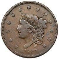 1837 CORONET HEAD LARGE CENT, MEDIUM LETTERS,  N-17, R.4, F