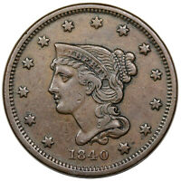 1840 BRAIDED HAIR LARGE CENT, SMALL DATE, N-1,  VF
