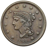 1840 BRAIDED HAIR LARGE CENT, SMALL DATE, N-3,  EXTRA FINE