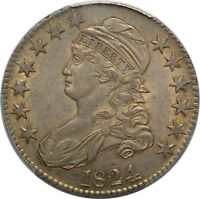 1824 CAPPED BUST HALF DOLLAR- PCGS CAC AU53 - O-105 - LOVELY TONING