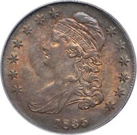 1835 CAPPED BUST HALF DOLLAR- PCGS MINT STATE 63 - O106 - FULL LUSTER & AMAZING COLOR