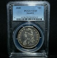 1830 CAPPED BUST HALF DOLLAR  PCGS VF-25  50C SILVER SMALL 0 SM SML TRUSTED