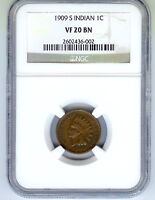 1909 S INDIAN CENT, NGC VF 20,  KEY DATE