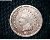 1863 COPPER NICKEL INDIAN HEAD SMALL CENT PENNY J589