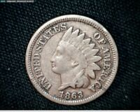 1863 COPPER NICKEL INDIAN HEAD SMALL CENT PENNY J590