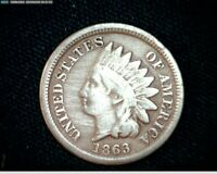 1863 COPPER NICKEL INDIAN HEAD SMALL CENT PENNY J593