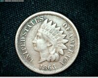 1863 COPPER NICKEL INDIAN HEAD SMALL CENT PENNY J594