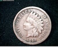 1863 COPPER NICKEL INDIAN HEAD SMALL CENT PENNY J595