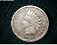 1863 COPPER NICKEL INDIAN HEAD SMALL CENT PENNY J598