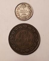 1920 CANADA 5 CENTS  80  SILVER  AND 1920 CANADA ONE CENT CO