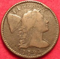 1794 LIBERTY CAP LARGE CENT HEAD OF 1795 S-72 VARIETY EARLY COPPER 1C TYPE COIN