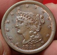 1851 BRAIDED HAIR HALF CENT HIGH GRADE CHOICE UNCIRCULATED UNC 1/2C TYPE COIN