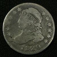 1820 LARGE O CAPPED BUST SILVER DIME - CLEANED