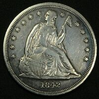 1842 SEATED LIBERTY SILVER DOLLAR - CLEANED