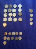 $5.90 CANADIAN SILVER COINS ALL PRE 1953 KING GEORGE V OR VI
