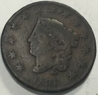 1831 LARGE 1C N.12 HAS A RIM BREAK THROUGH STARS WITH WIDE DATE 1 8 APART