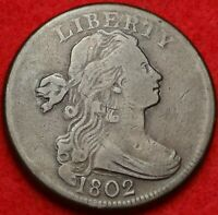 1802 DRAPED BUST LARGE CENT  FINE MDS S-242 R.2 EARLY COPPER 1C VARIETY