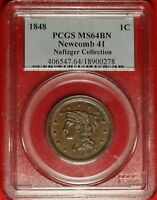 1848 1C PCGS MINT STATE 64 NEAR GEM UNCIRCULATED UNC BRAIDED HAIR LARGE CENT N-41 VARIETY