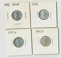 4  ORIGINAL 1943 P D S BU AND UNC STEEL LINCOLN WHEAT WWII CENTS.
