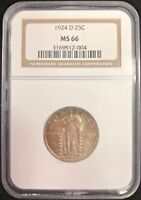 1924 D 25C STANDING LIBERTY QUARTER DOLLAR NGC MINT STATE 66 NGC PRICE GUIDE $800