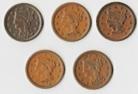 FIVE HIGH CONDITION  VF XF   BRAIDED HAIR LARGE CENTS 1844 48 53 54 55 FREE SHIP
