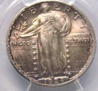 1924 STANDING LIBERTY QUARTER,PCGS MINT STATE 64, FLASHY LUSTER