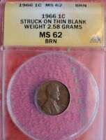 1966 LINCOLN CENT STRUCK ON THIN BLANK WEIGHT 2.58 GRAMS