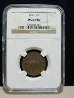 1871 GREAT DATE 2 CENT PIECE NGC GRADED MINT STATE 62 BN 13474-CENT-OSY