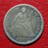 1891-S SEATED DIME , VF  FINE, 90 SILVER US COIN