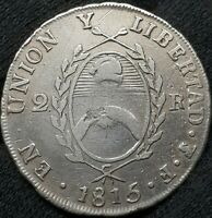 2 REALES 1815 F ARGENTINA SILVER COINS  XF