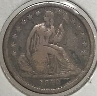 1840-P SEATED LIBERTY DIME .900 SILVER COIN
