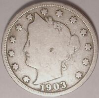 SHIPS FREE 1903 LIBERTY V NICKEL  5 CENT COIN USED , OLD ,VINTAGE  L1209