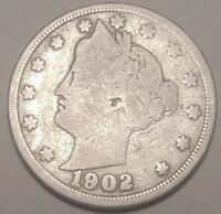 SHIPS FREE 1902 LIBERTY V NICKEL  5 CENT COIN USED , OLD ,VINTAGE  L989