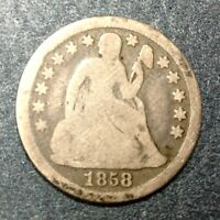 1858 US SEATED LIBERTY DIME 10 CENTS