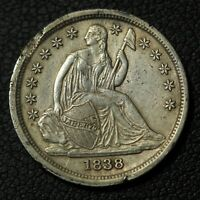 1838 NO DRAPERY SEATED LIBERTY SILVER DIME - EDGE DAMAGE & CLEANED