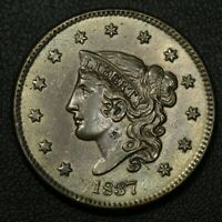 1837 CORONET MATRON HEAD COPPER LARGE CENT - RECOLORED