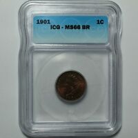 1901 INDIAN HEAD CENT PENNY ICG MINT STATE 66 BN - UNCIRCULATED