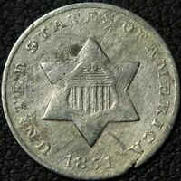 1851 THREE CENT SILVER TRIME PIECE - CLEANED & DAMAGED