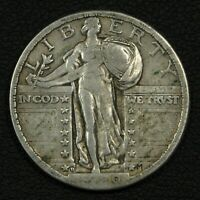 1920 D STANDING LIBERTY SILVER QUARTER - GASH ON SHIELD