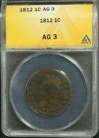 1812 CLASSIC HEAD COPPER LARGE CENT ANACS AG 03