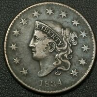 1834 CORONET MATRON HEAD COPPER LARGE CENT