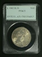 1918 LINCOLN SILVER COMMEMORATIVE HALF DOLLAR PCGS MINT STATE 63 - RATTLER