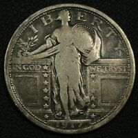 1917 TYPE 1 STANDING LIBERTY SILVER QUARTER - CLEANED